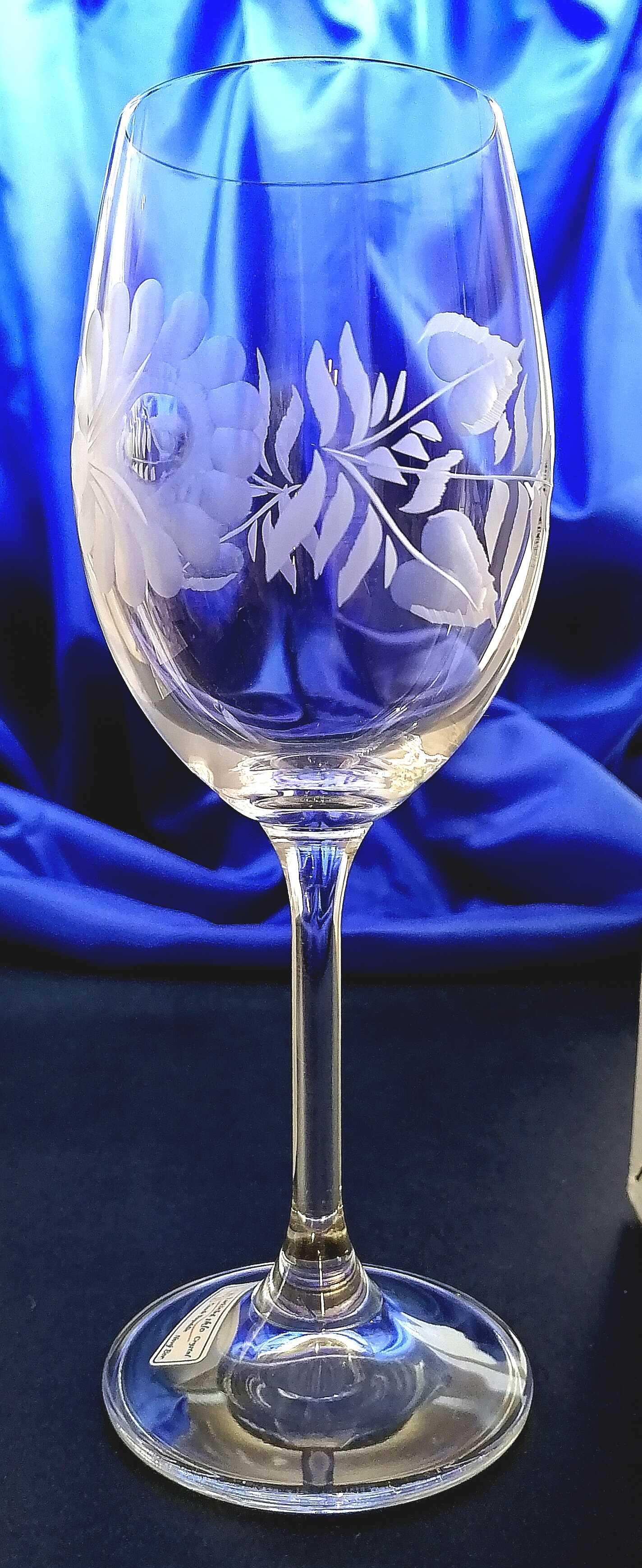 Lužické sklo LsG Nový Bor LsG-Crystal Skleničky broušené/ryté na víno Růže nostalgika VU-190 450 ml 4 Ks.
