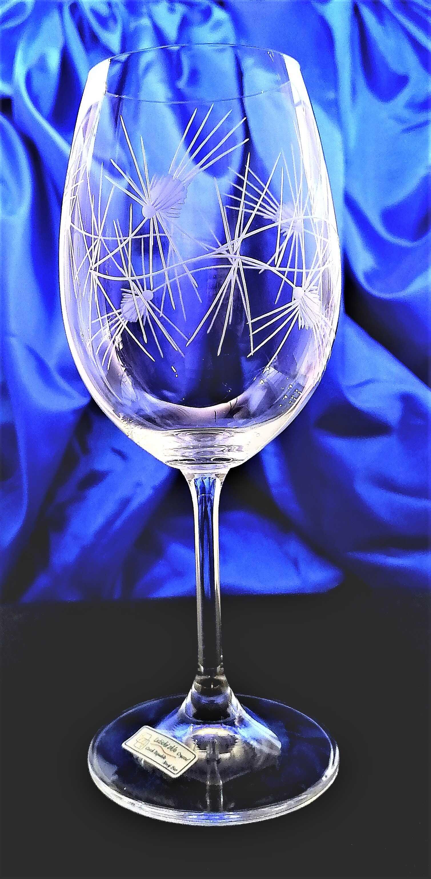 Lužické sklo LsG Nový Bor LsG-Crystal Skleničky broušené/ryté na bílé/červené víno Bodlák WW-278 350 ml 6 Ks.