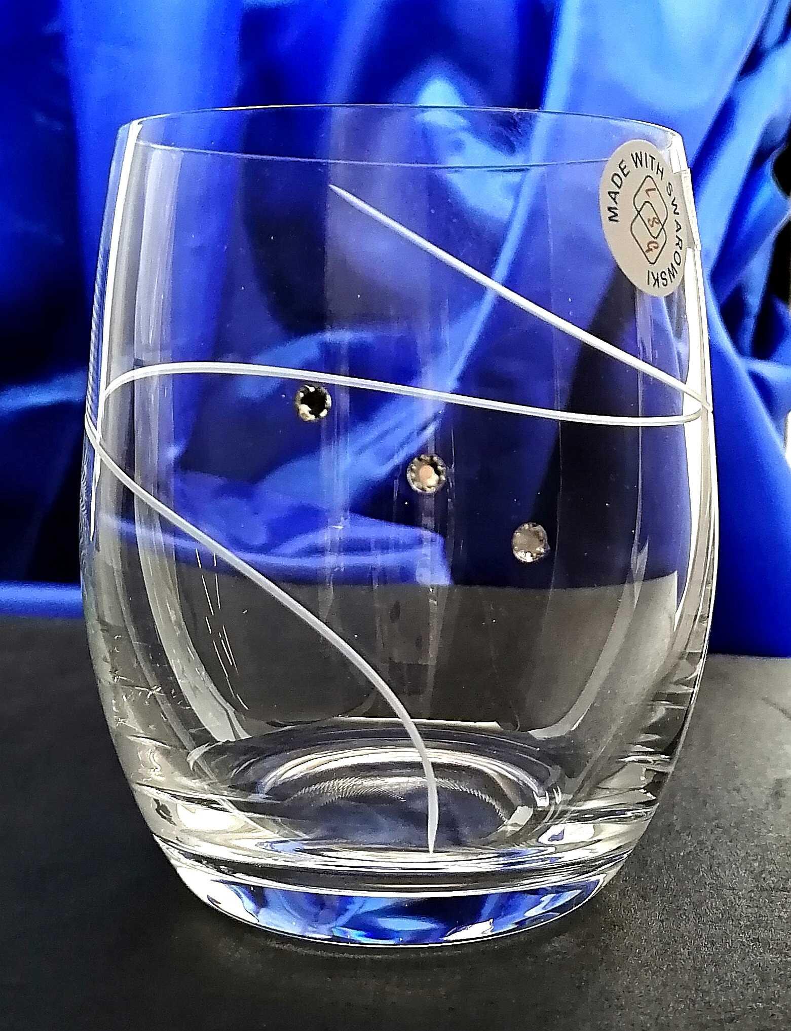 Lužické sklo LsG Nový Bor LsG-Crystal Skleničky na vodu/ červené víno / pivo SWAROVSKI krystaly broušená spirála Petra dárkové balení satén S747-492 300 ml 6 Ks.